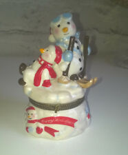 Villeroy & Boch Happy Holidays Christmas Skiing Snowman Hinged Trinket Box