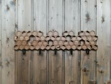 Handmade wooden wall mount coat rack Honeycomb with 5, 3 or a single hook