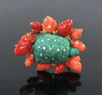 Vintage David Webb Sea Turtle Diamond Turquoise & Coral 18K Yellow Gold Brooch