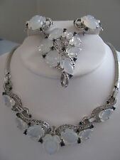 TRIFARI ALFRED PHILIPPE MOONSTONE FRUIT SALAD NECKLACE PIN EARRING SET STERLING