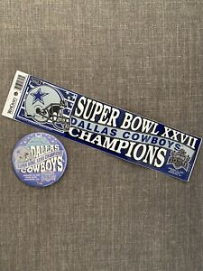 Dallas Cowboys Super Bowl XXVII Champion Vintage Sticker & Pin