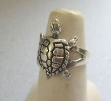 Mexican 925 Sterling Silver Taxco Shiny Oxidized Cute TURTLE Solid Ring Sz  8.25