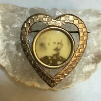 Antique Victorian Heart Shaped Gold Plated Photograph Portrait Pin or Brooch