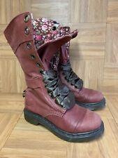 RARE🔥 Dr. Martens Triumph 1914 Tall Lace Burgundy Red Floral Combat Boots Sz 5