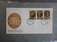 1979 NEW ZEALAND GREY SODDON VOGEL STATESMEN SET OF 3 STAMPS FDC FIRST DAY COVER