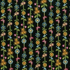 RJR Lori's Art Garden by Lori Gardner Woods 3246 002 Black Flower Stripe  COTTON