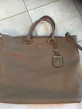 Beautiful New Prada Leather Tote Shoulder Bag Shopper Large Beige $1590