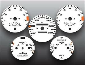 1986-1991 Porsche 944 260 KMH METRIC KPH Instrument Cluster White Face Gauges