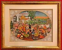 Hand Painted Shree Krishna Dwarka Miniature Painting India Framed Artwork