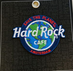 """Hard Rock Cafe AMSTERDAM 2018 """"Save The Planet"""" HRC Logo PATCH Card Iron/Sew ON"""