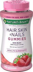Nature's Bounty Vitamin Biotin Solutions Hair, Skin and Nails Gummies, 140 ct