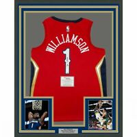 FRAMED Autographed/Signed ZION WILLIAMSON 33x42 Pelicans Red Jersey Fanatics COA