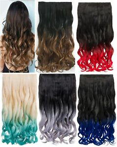 """KOKO LUXURY OMBRE DIP DYE 20"""" CURLY ONE PIECE HAIR EXTENSIONS VARIOUS COLOURS"""