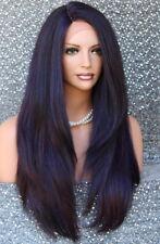 Human Hair Blend Full Lace Front wig Heat OK Long Straight JSLA Purple Burg