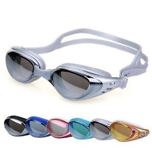 Mens Womens Swimming Swim UV Goggles Anti-Fog Adjustable Black Blue Red Grey