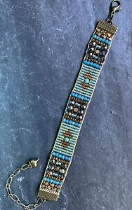 Antique Brass Chrysocolla Azurite czech beaded bracelet Sundance Inspired