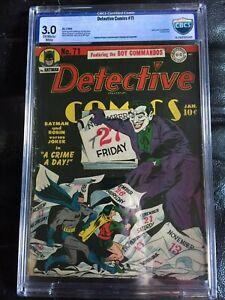 DETECTIVE COMICS #71 CBCS GD/VG 3.0; OW-W; Jerry Robinson Joker cover! Kane art!