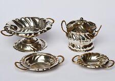 Set 4 Teile versilbert um 1900 Schale Konfektschale Dose Zuckerdose Teesieb