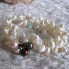 """7"""" 5-6mm Baroque White Freshwater Pearl Bracelet 2Row Elastic Bracelet"""