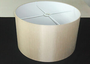 """Hand Made 20"""" Rolled Edge Coffee-Beige Satin Backed Duppion Lampshade"""