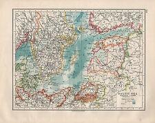 1914 MAP ~ BALTIC SEA ~ DENMARK SWEDEN ESTHONIA PRUSSIA