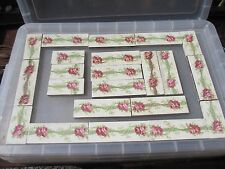 Vintage Ceramic Tile Floral Architectural Vintage Floral Rose Leaf Old Retro x22