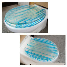 Simple O-Shape Blue Resin Clean Bathroom Accessories Toilet Seat Toilet Cover #