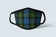 Clan MacKenzie Tartan Face Mask Scottish Plaid Covering Green Blue Polyester