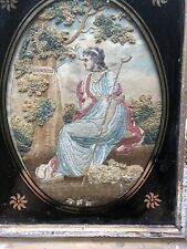 19th C Needlepoint Textile TANCRED Maiden Or Goddess Needlework English