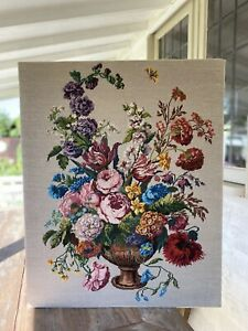 Simply Stunning LARGE Hand Worked FLORAL ROSES Tapestry Picture