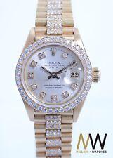 Rolex Lady-Datejust 18K Gold Voll Besatz 26mm Präsidenband