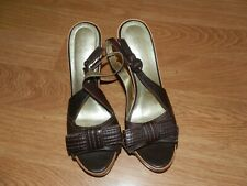 Next Size 7 Brown  Leather Open Toe Ankle Strap Platform Shoes. New