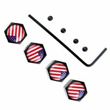 USA Flag Style Anti-Theft Locking Caps Car Wheel Tire Valve Stem Air Caps Black
