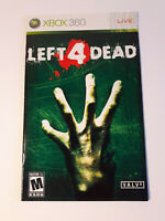 Left 4 Dead Xbox 360 INSTRUCTION MANUAL ONLY ! excellent condition