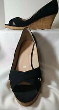 Colin Stuart Women's Black Peep Toe Espadrilles Jute Wedge Heel Sandal Size 11B