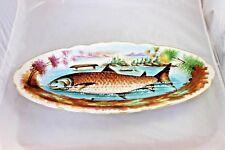 Antique Fish Platter 19th c. Hand Painted Porcelain Serving Decor