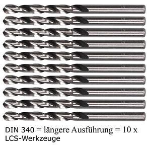 10 x Spiralbohrer LANG DIN340 HSS-G  0,60 - 7,9mm Metallbohrer HSSG geschliffen