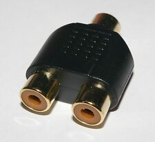 Single RCA Phono Female Socket to 2 RCA Phono Female Sockets  Phono adaptor