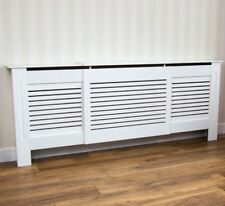 Milton Radiator Cover Adjustable Modern White Cabinet Painted Wood MDF Grill