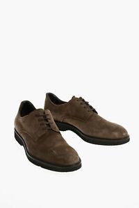 CORNELIANI men Lace-up Shoes Leather Suede Derby Oxford Rubber Sole Beige 9 (...
