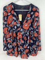 NWT Suzanne Betro Navy Blue Red Floral Bell-Sleeve Tunic Shirt Top Sz LARGE