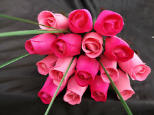 Roses Bouquet Wooden Flowers Wood Rose Artificial Flowers Birthday Pink, Pink