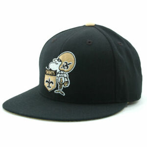 New Orleans Saints Mitchell and Ness NFL Throwback Fitted Flat Bill Hat Cap 73/8