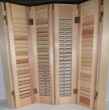 "PAIR (4 Panels) Vintage INTERIOR WOOD Louver Shutter Set 29""W x 27""H. Brand New"