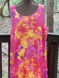 """Isaac Mizrahi LIVE Long Lined Colorful Summer Dress, 2X, Chest 50"""", Length 57"""""""