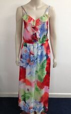 Snap - Multi Colour Floral Strappy Maxi Style Dress Size UK L (O773)