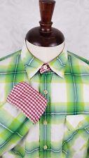 Arnold Zimberg Men's Button Down Shirt Large Green Plaid Flip Contrast Cuff EUC
