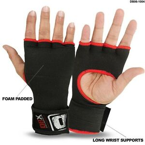Inner Gloves With Long Wraps Foam Padded MMA Boxing Fight Pair Black
