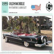 OLDSMOBILE 98 STARFIRE CABRIOLET 1955 CAR VOITURE UNITED STATES CARTE CARD FICHE
