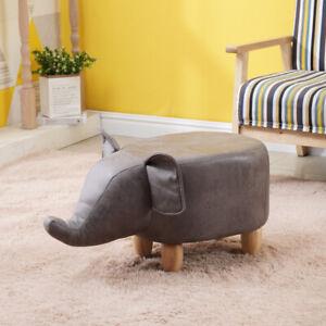 Footstools Ottoman Grey Elephant Shape Fabric Animal Toy Gift for Adult & Child